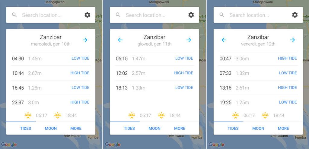 My Tide: app controllo maree a Zanzibar