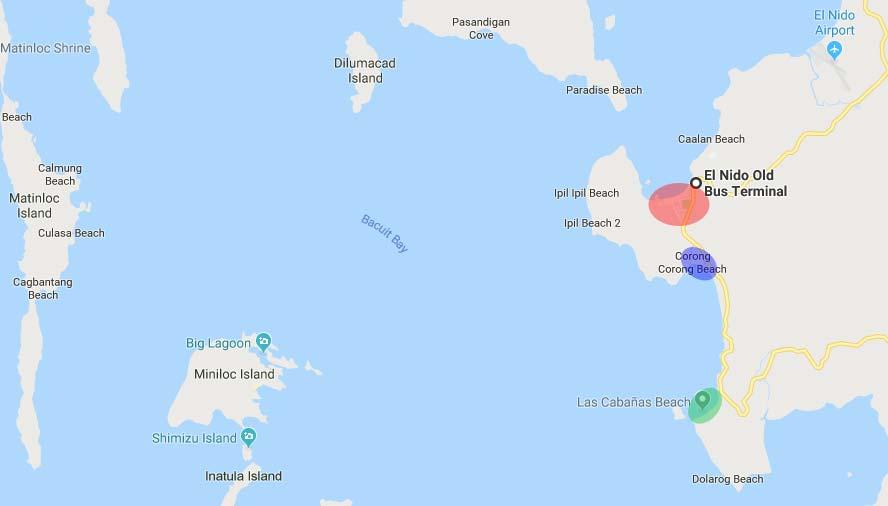 Mappa El Nido Corong Corong