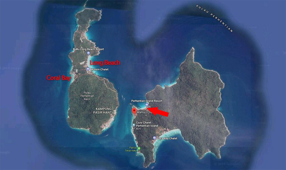 Cartina spiagge Perhentian
