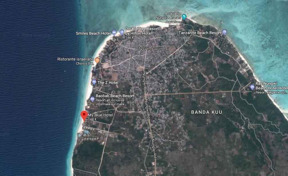 La posizione del My Blue a Zanzibar