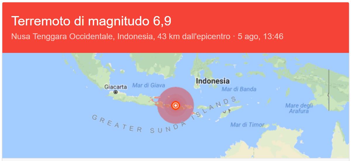 Terremoto Isole Gili Agosto 2018