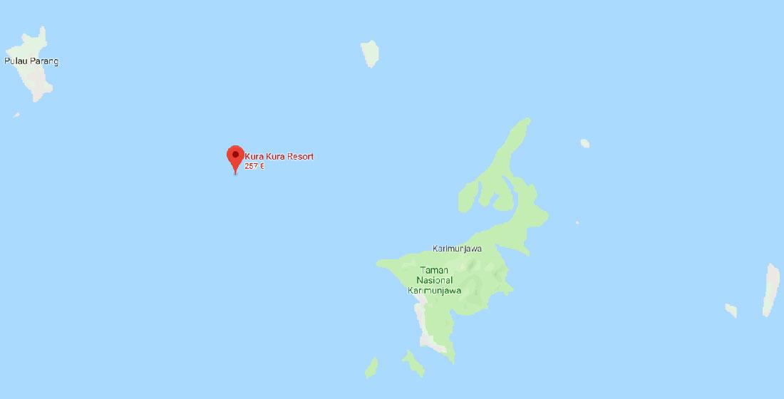 Cartina con posizione del Kura Kura Resort Karimunjawa posizione