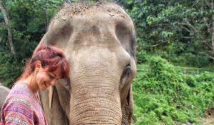 Io e un elefante del Santuario degli Elefanti di Chiang Mai