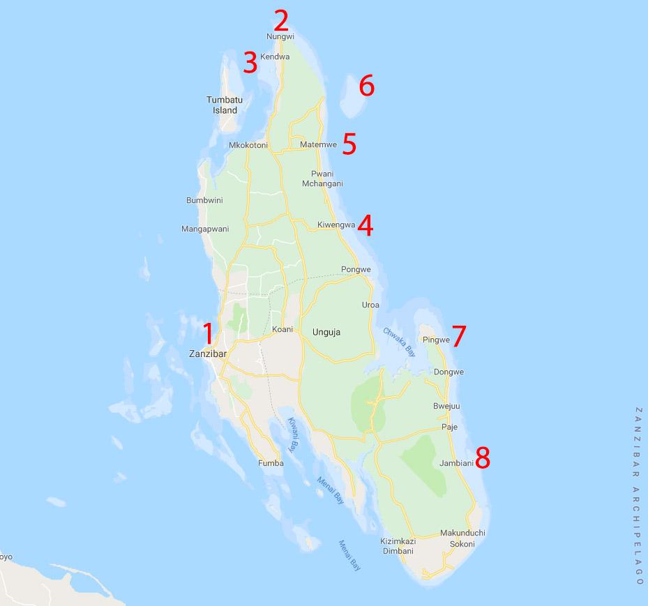 Mappa di Zanzibar con le principali località