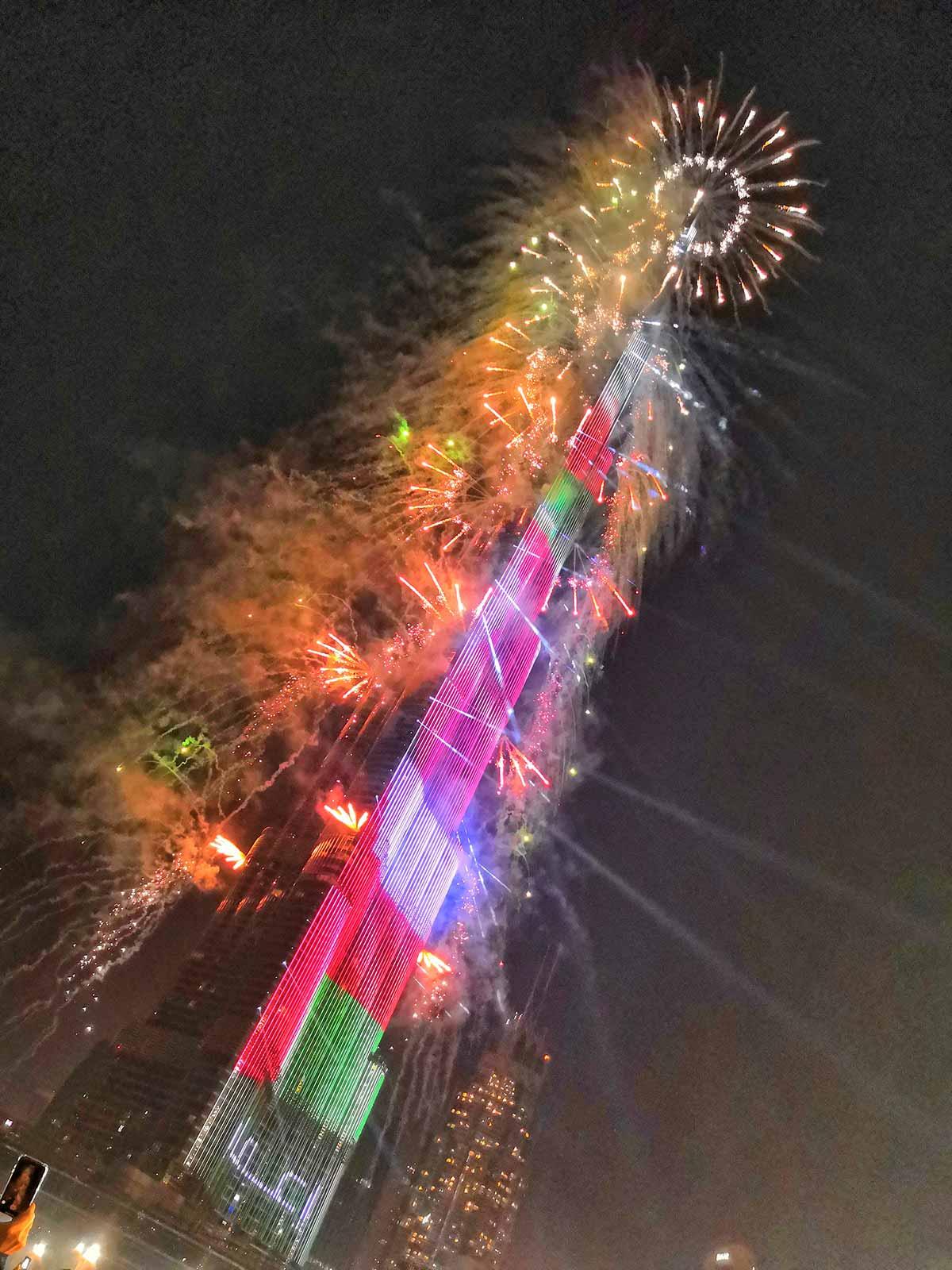 I fuochi del Burj Khalifa a Capodanno a Dubai