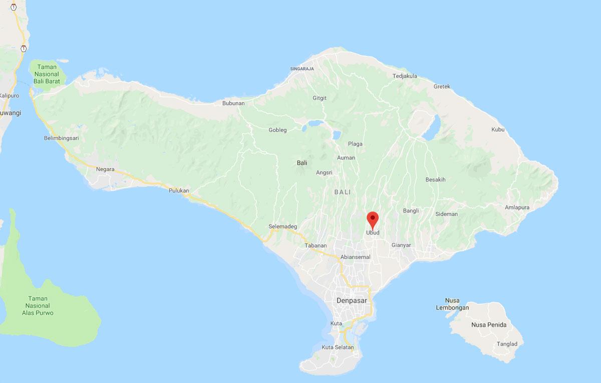 Cartina Ubud, nel cuore di Bali