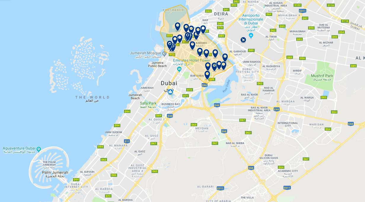 Cartina Mappa Turistica Dubai.Dove Alloggiare A Dubai Spendendo Poco Impiegata Giramondo