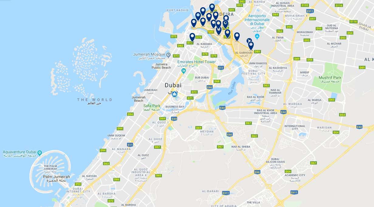 La cartina della zona di Deira