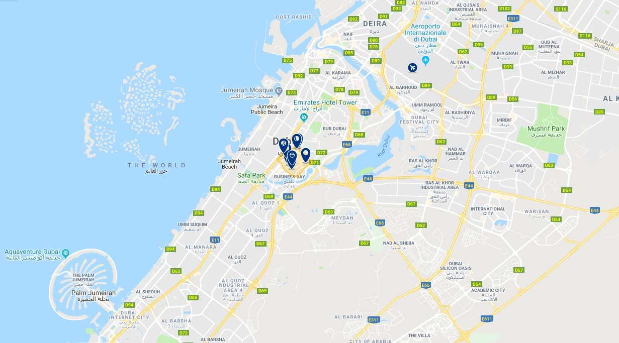 Cartina con hotel di Downtown Dubai