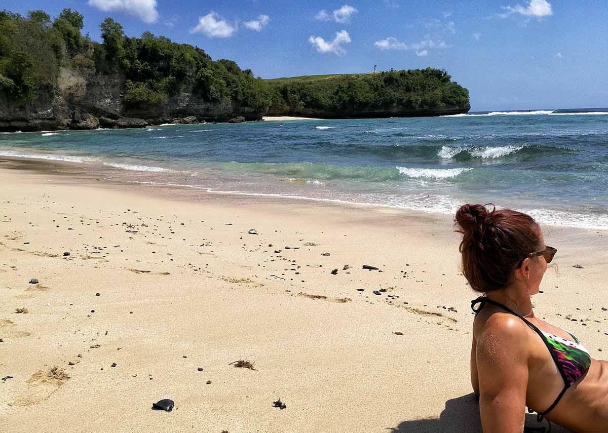 Io in spiaggia a Bali
