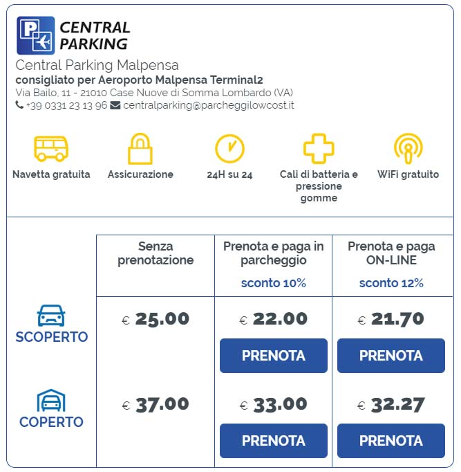 Prezzi parcheggi Milano Malpensa