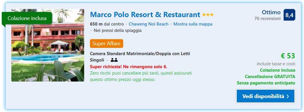 Il mio alloggio a Koh Samui, Marco Polo Resort