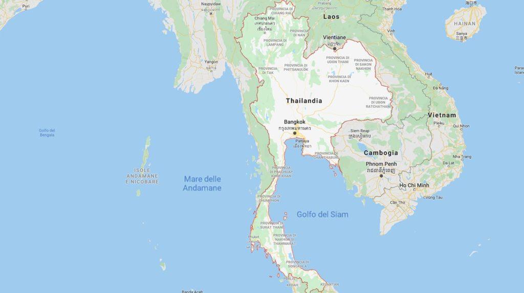 La cartina della Thailandia
