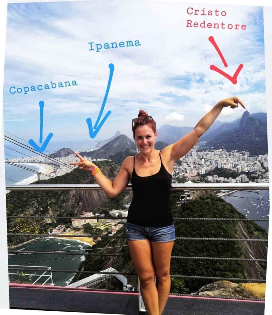 Io che illustro la vista dal Pan di Zucchero su Rio de Janeiro