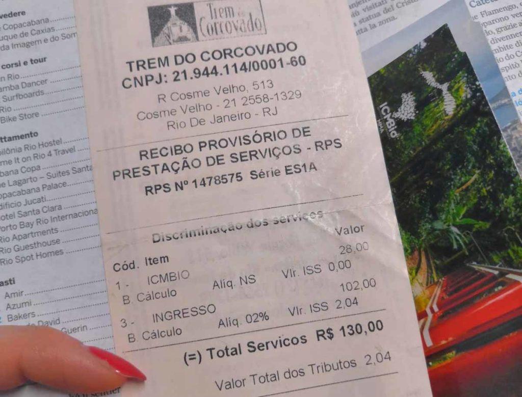 Biglietto treno Cristo di Rio
