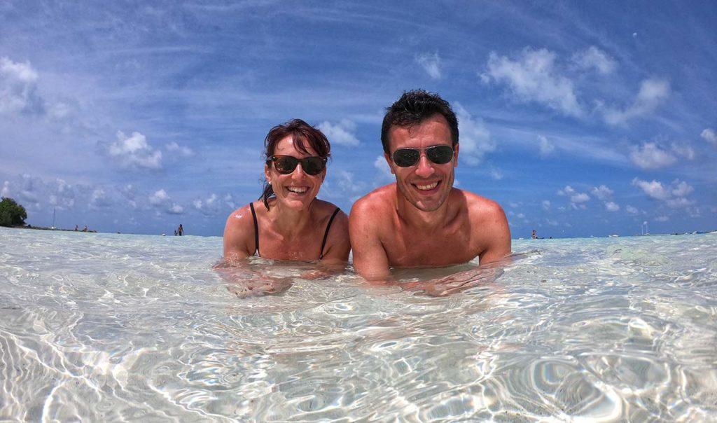 Io e Marcello nel Mare delle Maldive