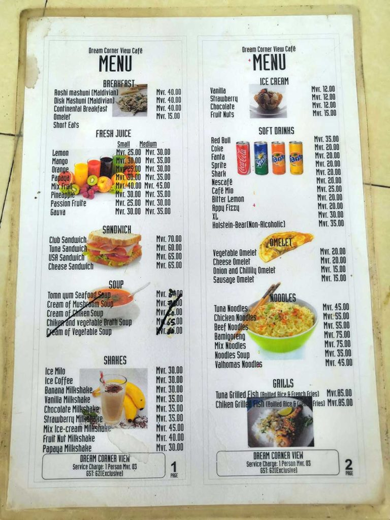 Menù ristorante maldiviano