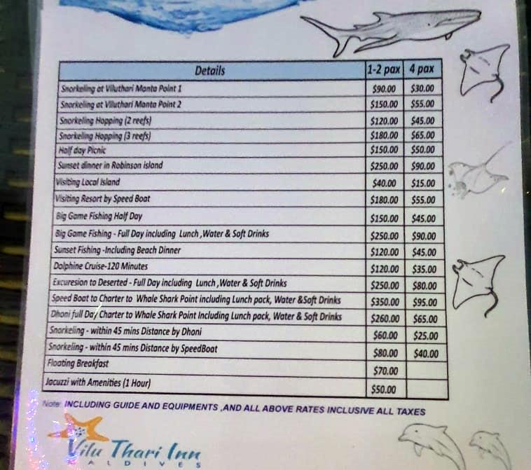 Listino prezzi escursioni Mahibadhoo