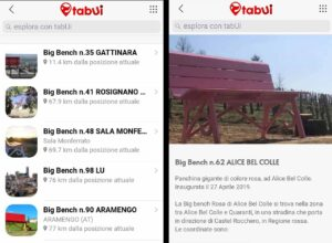 L'app delle Panchine Giganti Tabui