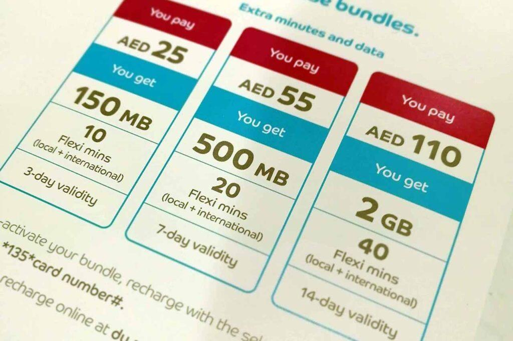 Piani tariffari SIM telefoniche a Dubai