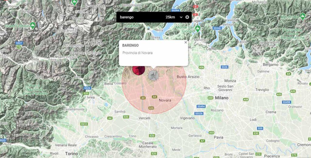 La posizione sulla mappa della Panchina Gigante di Barengo
