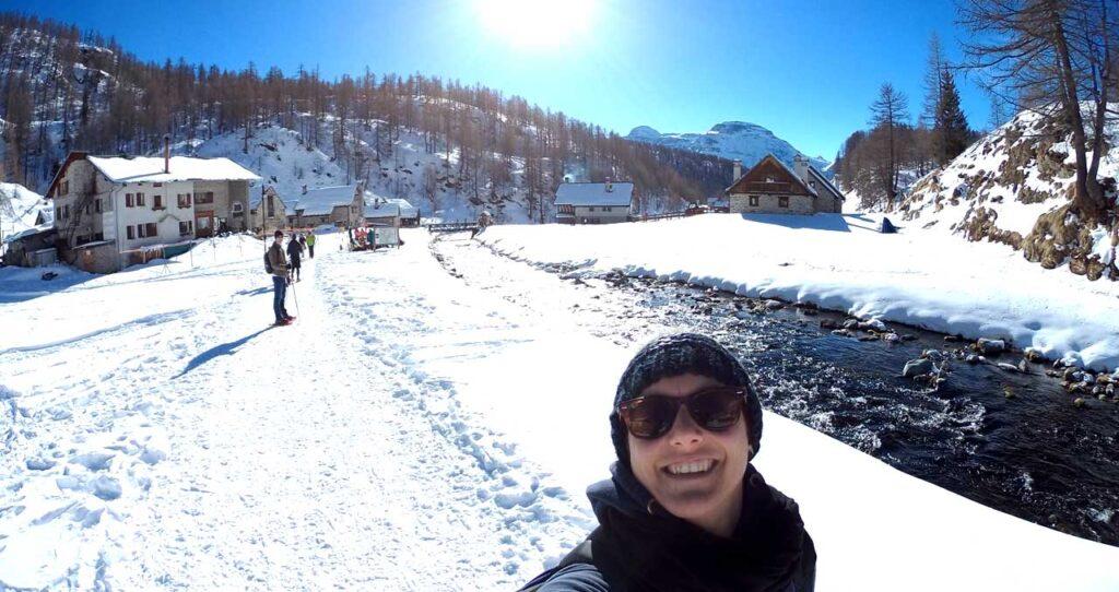 Marta Marcomini durante una ciaspolata all'Alpe Devero