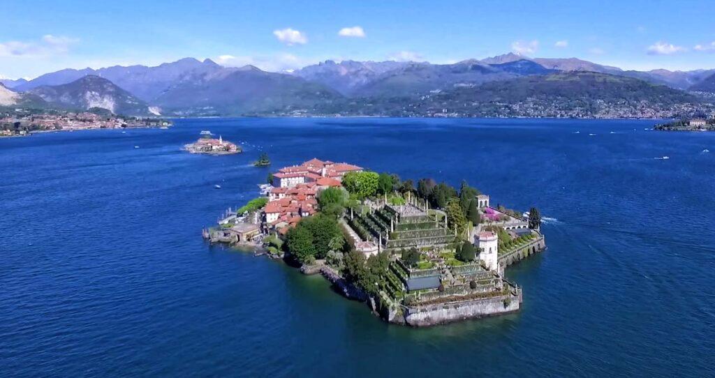 Vista dall'alto sulle Isole Borromee, Lago Maggiore, Piemonte