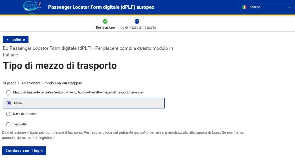 Compilazione modulo localizzazione passeggero europeo