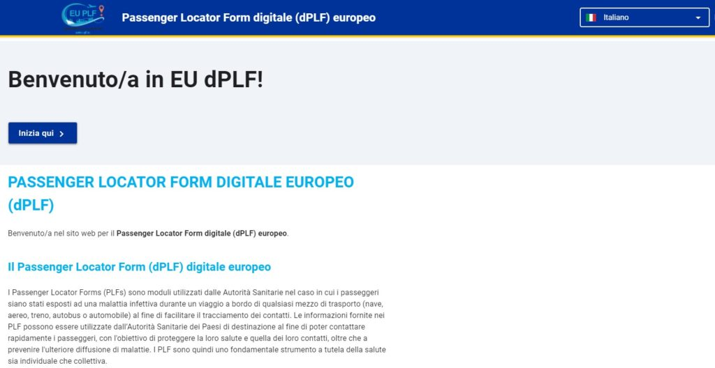Passenger Locator Form digitale (dPLF) europeo