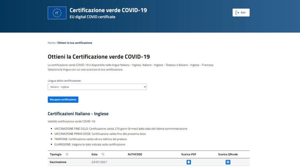 Certificazione verde COVID-19 scaricabile dal sito del Ministero