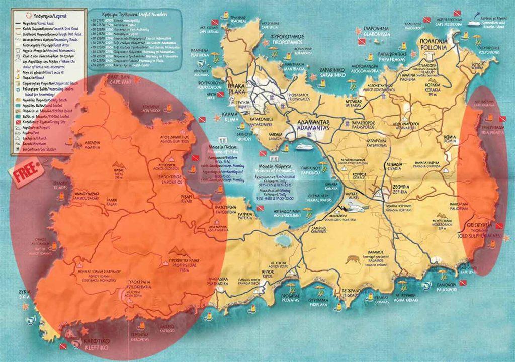 Cartina Milos per scegliere dove dormire
